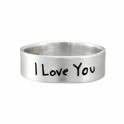 Handwriting Ring - sterling silver band with handwriting, shown on white