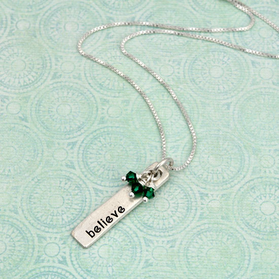 Rectangle charm with believe