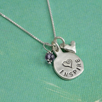 Inspire hand stamped necklace