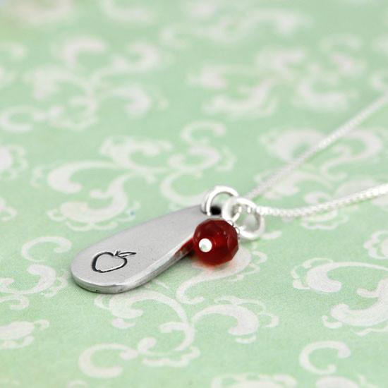 Teacher gift apple necklace