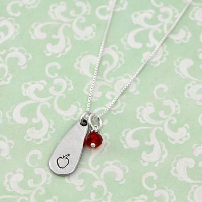 Hand stamped apple necklace
