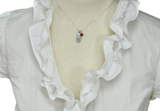 Apple necklace handstamped