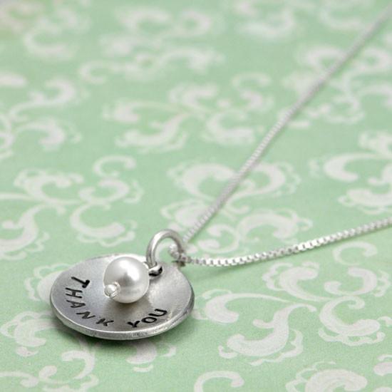 Handstamped teacher necklace