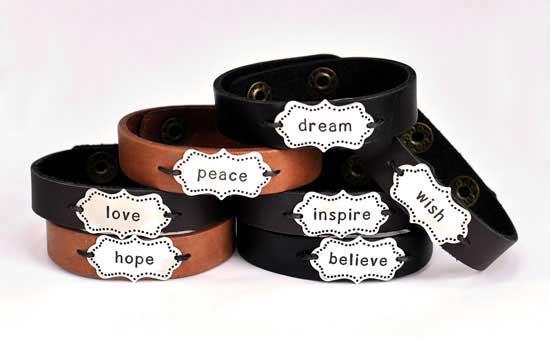 Hand stamped whimsical bracelet
