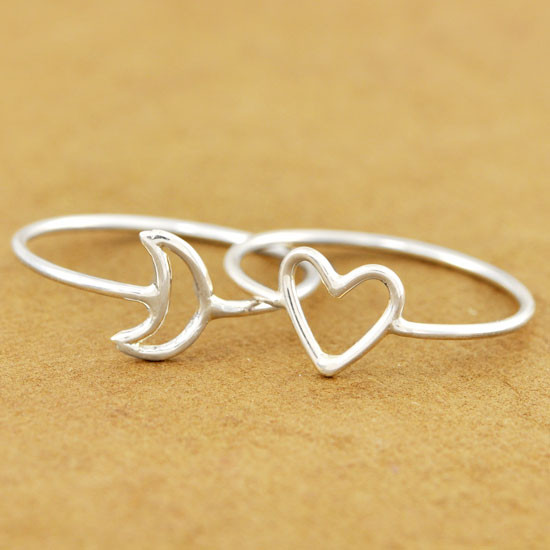 Heart and moon ring together