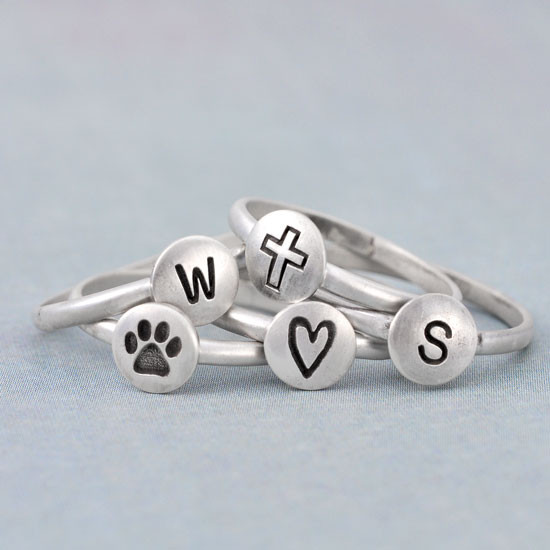 Hand stamped droplet ring