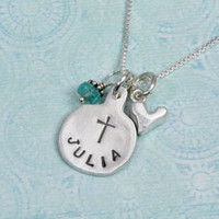 Communion necklace hand stamped
