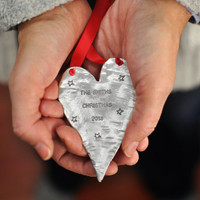 Hand stamped heart ornament