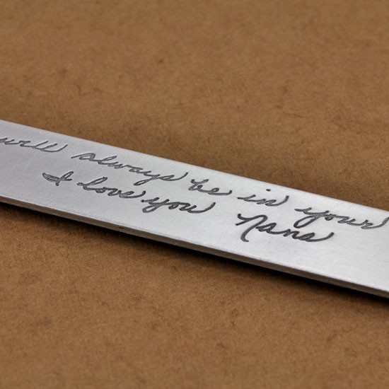 Personalized bookmark with handwriting