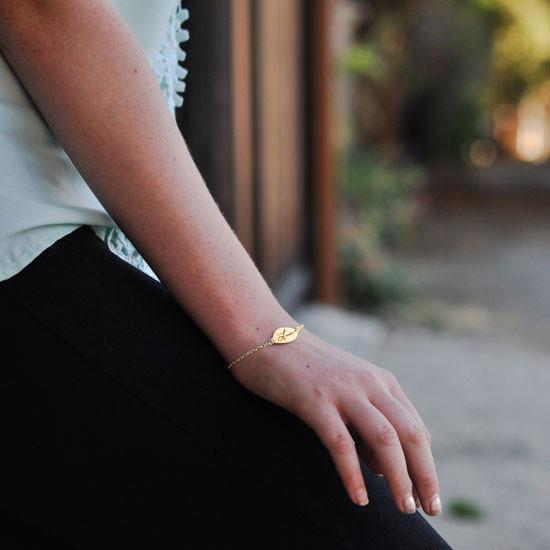 Gold bracelet on a person