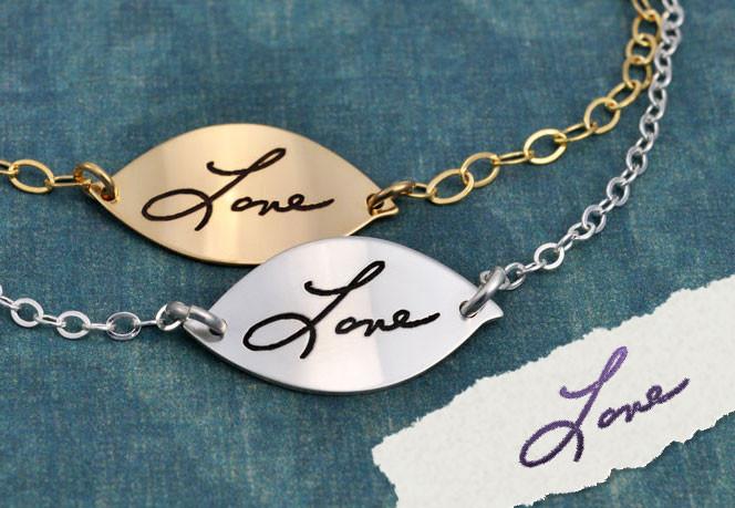 Handwriting on gold bracelet