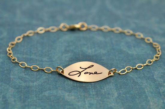 Gold Petal Handwriting Bracelet