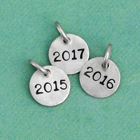 Hand stamped year pendant