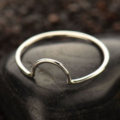 Half circle sterling stackable ring