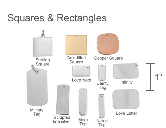 Squares and rectangle signature jewelry
