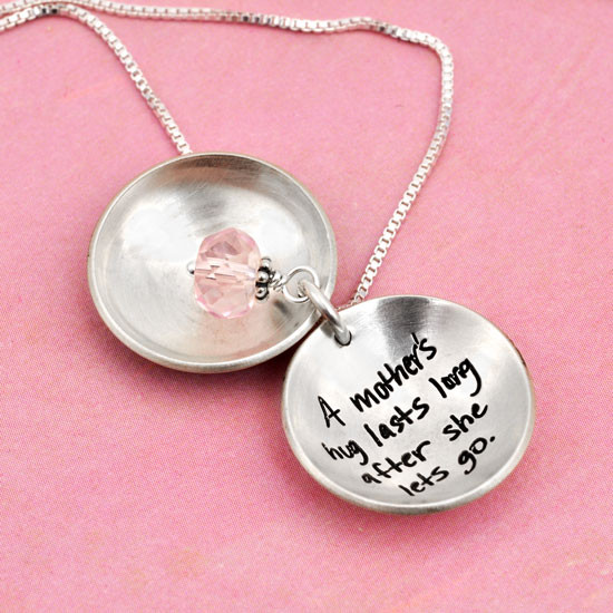 Locket with pink stone