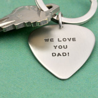 Hand Stamped Silver Guitar Pick Key Ring