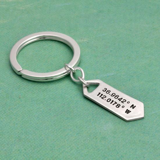 Hand stamped coordinates latitude longitude key chain
