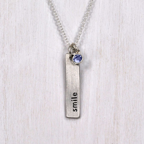 Mantra hand stamped necklace