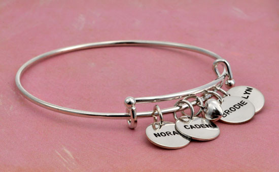 Hand stamped charms on bracelet