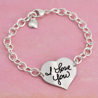 Custom Handwriting Heart Silver Linked Bracelet