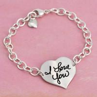 Custom Handwriting Heart Silver Linked Bracelet
