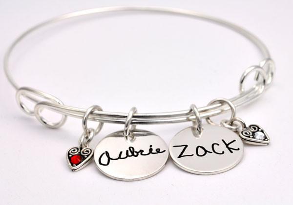 Handwriting charm bracelet