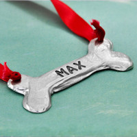 Hand stamped dog bone ornament