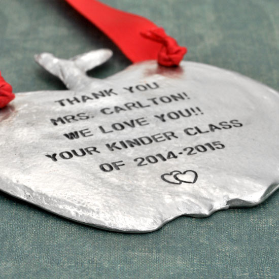Hand stamped ornament for teacher
