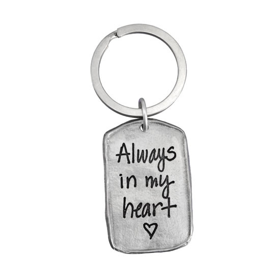 Handwriting key ring on pewter tag