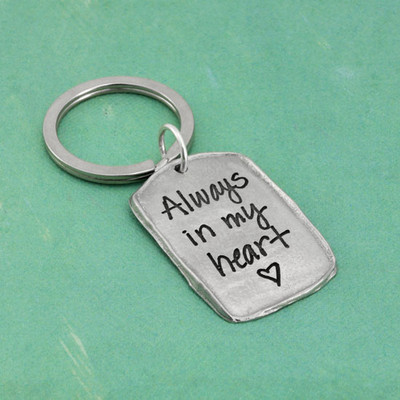 Military tag handwritten keychain