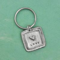Hand stamped key ring pewter