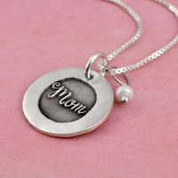 Mom etched necklace
