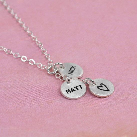Hand stamped mom necklace
