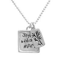 Handwritten names on necklace