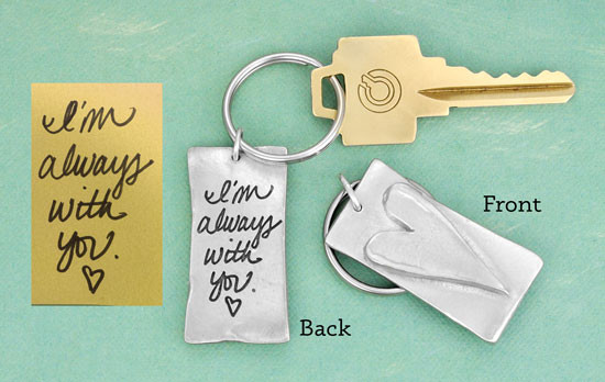 Writing used to create the key chain, and an image with the key