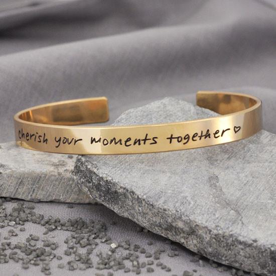 Gold handwriting cuff bracelet