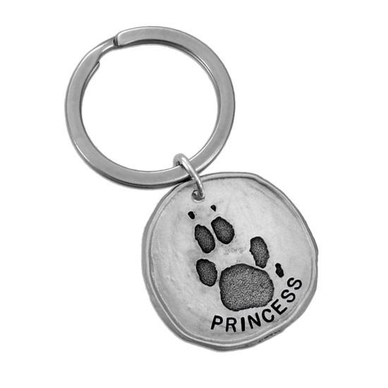 Custom paw print key ring