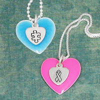 Awareness Enamel and Sterling Heart Necklace
