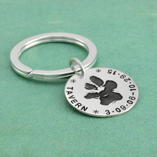 Custom Paw print on key chain