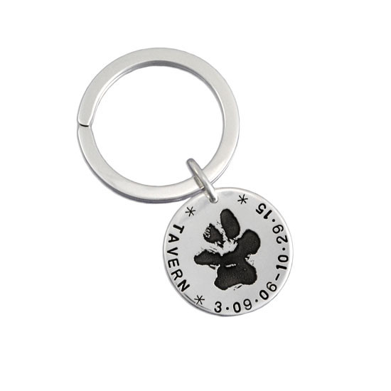 Paw print on key ring