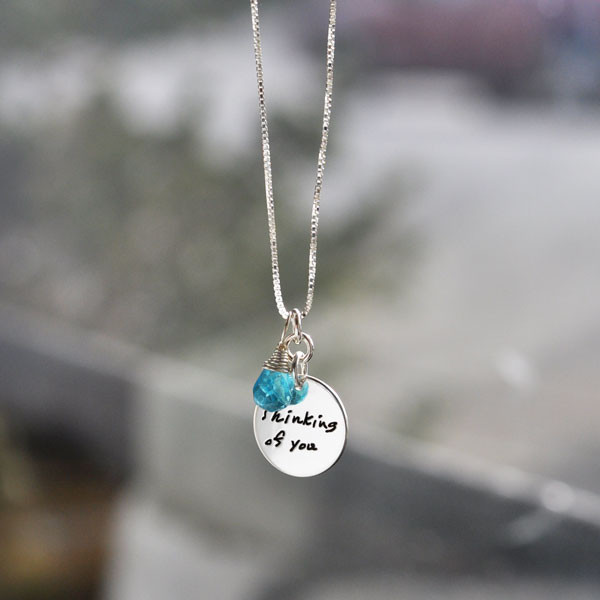 Custom Handwriting Jewelry Charms, with birthstone