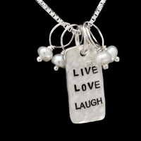 Dainty Hammered Live Love Laugh Necklace