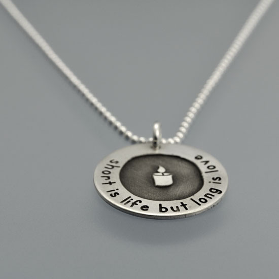Etched Candle Memorial Necklace
