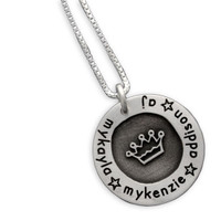 Etched Crown Circle of Love Necklace