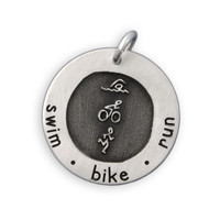 Etched Swim Bike Run Necklace