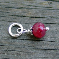 Faceted Ruby Stone with Bali Bead (July)