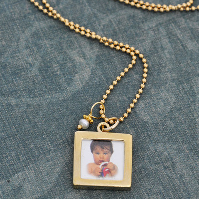 Gold Double-sided Photo Frame Necklace