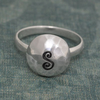 Hammered Dome Initial Ring