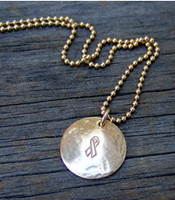 Hammered Gold Disc w/Awareness Ribbon